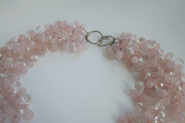 Rose Quartz Rock Crystal, Cultured Pearl 925 Silver Gemstone Necklace In New Condition For Sale In Coral Gables, FL