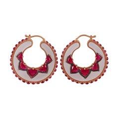 Rose Quartz & Ruby Earrings Studded in 18k Rose Gold