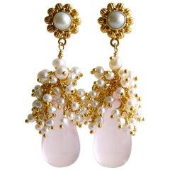 Rose Quartz Seed Pearl Cluster Earrings, Pétales de Rose IV Earrings
