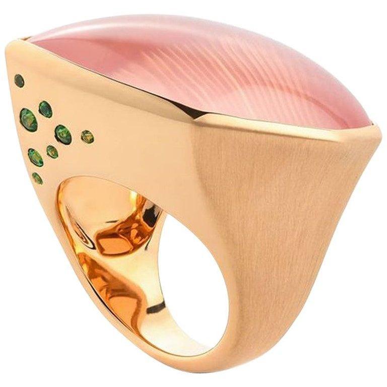 """Rose Quartz Tsavorite Gold """"Leaf"""" Ring Wagner Collection For Sale"""