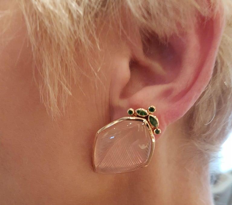 Modern Rose Quartz Tsavorite Gold Leaf Wagner Collection Stud Earrings For Sale