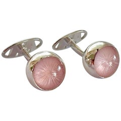 "Rose Quartz with ""Suncatcher"" Engraving Gold Cufflinks by Wagner Preziosen"