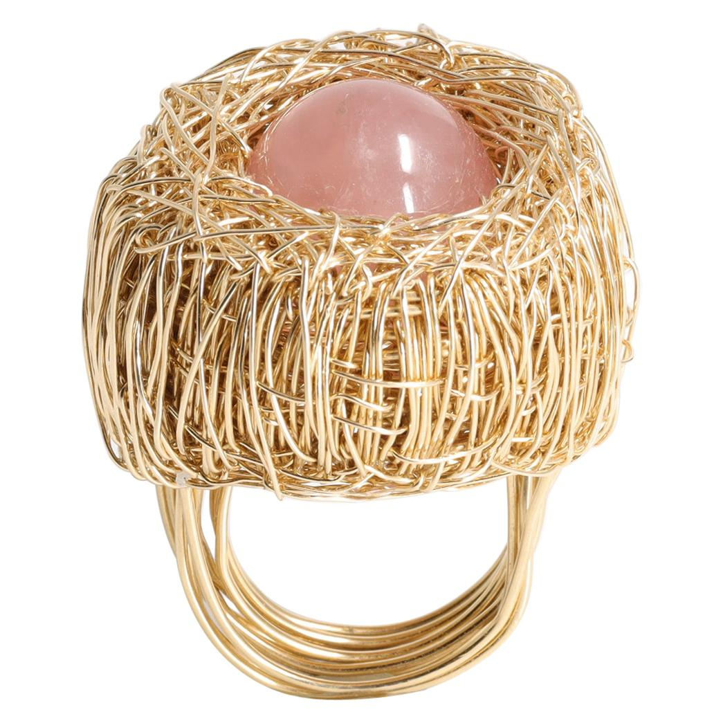 Rose Quartz Yellow Gold Woven Statement Cocktail Ring by Sheila Westera in Stock