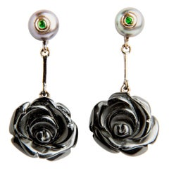 Rose Shaped Onxy with Rubies and Pearls 18 Carat Gold Dangle Earrings
