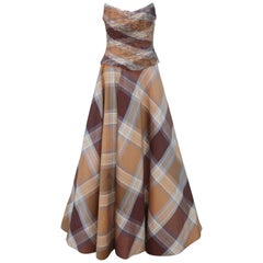 Rose Taft Couture Brown Plaid Silk Evening Dress With Corset Style Bodice