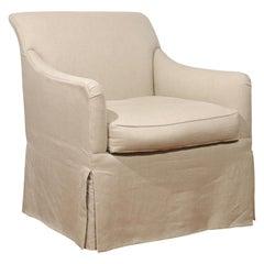 Rose Tarlow Linen Skirted Club Chair