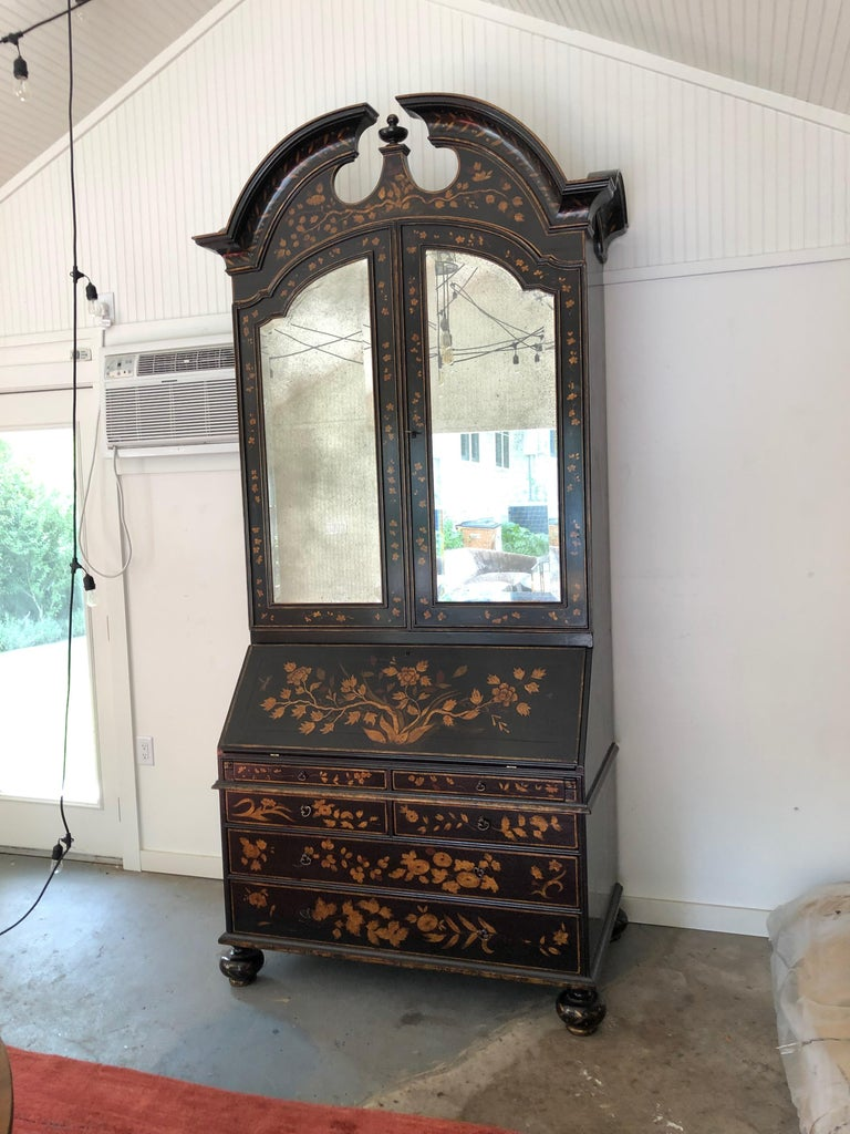 Rose Tarlow Melrose House Queen Style Anne chinoiserie secretary. A stunning, handmade, hand painted secretary. The finish is a stunning crackle finish made by renowned Artisans at Rose Tarlow Melrose House. A rare and beautiful piece handsome and
