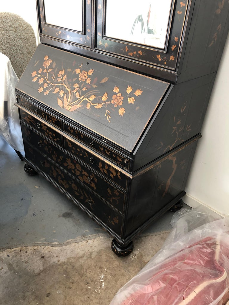 American Rose Tarlow Queen Anne Style Chinoiserie Secretary For Sale