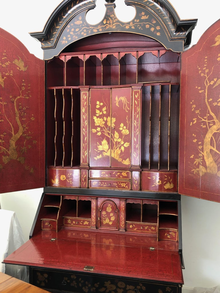 20th Century Rose Tarlow Queen Anne Style Chinoiserie Secretary For Sale