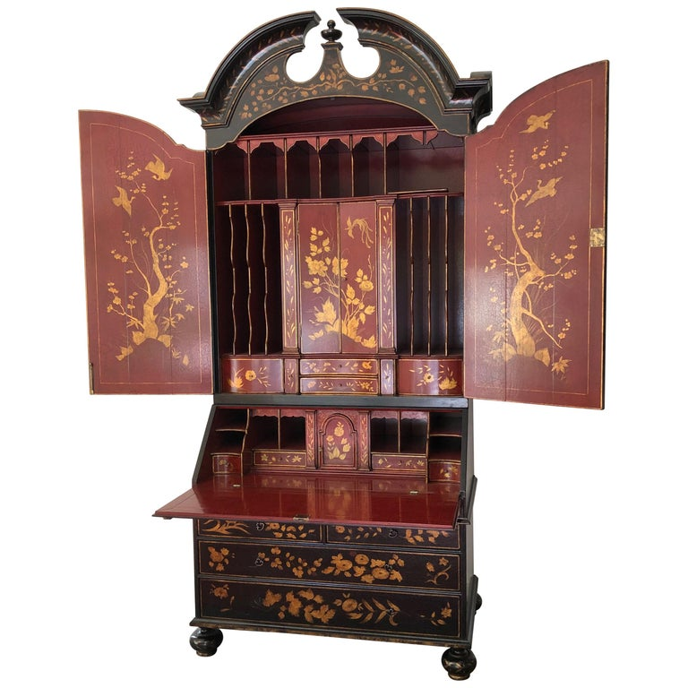 Rose Tarlow Queen Anne Style Chinoiserie Secretary For Sale