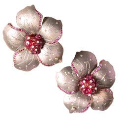 Rose-Tinted Titanium Flower Earrings with Rubies and Diamonds