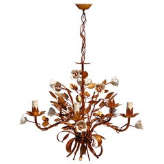 Rose Tole Chandelier with Gold Finish, 1950s, Italy