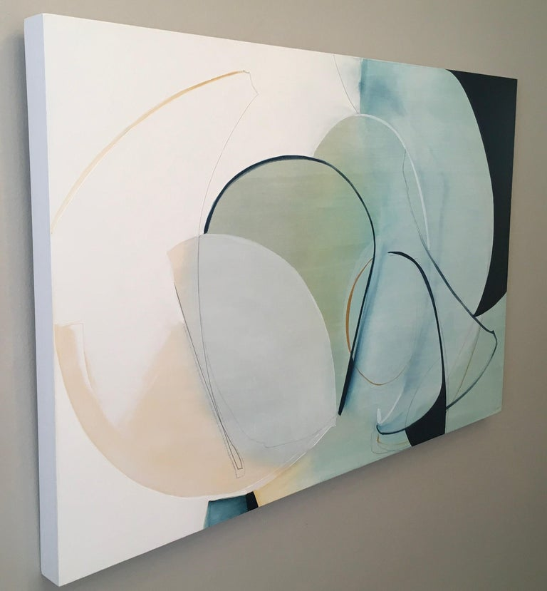 Change in Direction,  Abstract painting, Oil and Graphite on Panel, Blue, Green For Sale 2