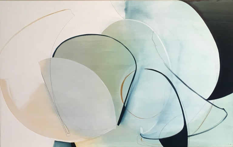 Rose Umerlik Abstract Painting - Change in Direction,  Abstract, Oil and Graphite on Panel, Blue, Green, painting