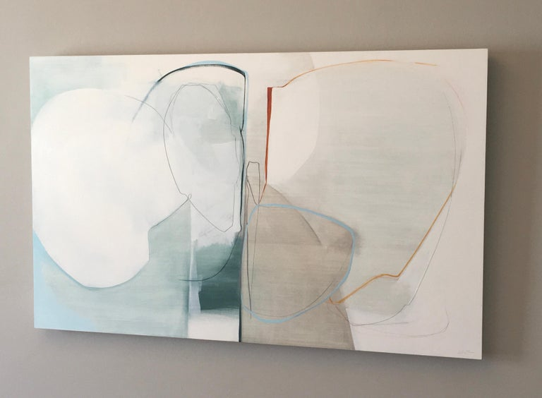 Deciding,  Abstract painting, Oil and Graphite on Panel, Blue, off white, taupe - Painting by Rose Umerlik