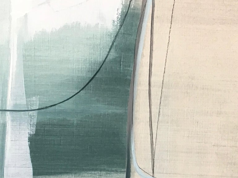 Deciding,  Abstract painting, Oil and Graphite on Panel, Blue, off white, taupe - Gray Abstract Painting by Rose Umerlik