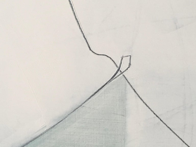 Deciding,  Abstract painting, Oil and Graphite on Panel, Blue, off white, taupe For Sale 1