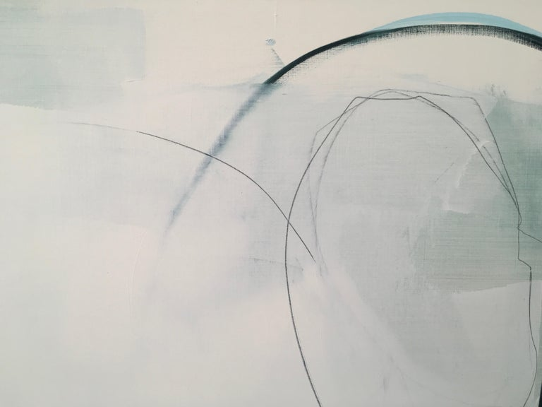 Deciding,  Abstract painting, Oil and Graphite on Panel, Blue, off white, taupe For Sale 2