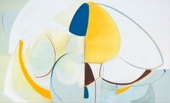 Play,  Abstract painting, Oil and Graphite on Panel, Blue, white, Yellow taupe
