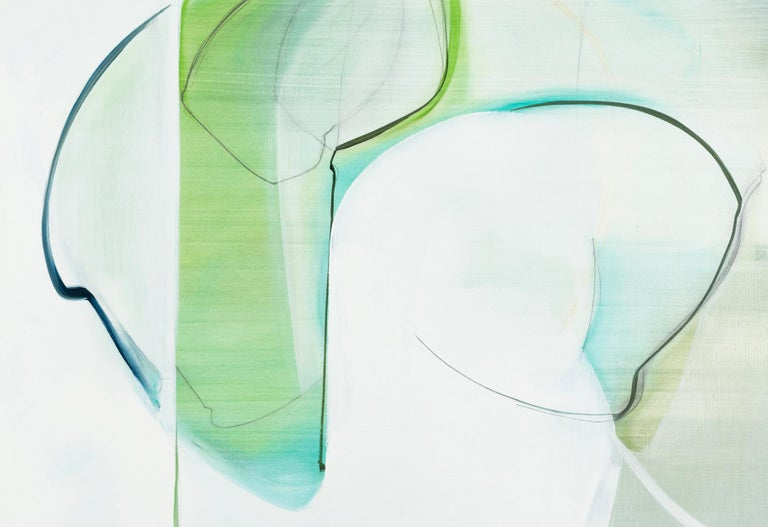 Protect,  Abstract painting, Oil and Graphite on Panel, Blue, black, Green - Gray Abstract Painting by Rose Umerlik