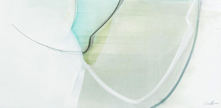 Protect by Rose Umerlik is an abstract painting, Oil and Graphite on wood panel, 24.5 x 48.5.  Rose Umerlik extracts the intangible emotional moments that live in our collective human psyche and interprets them abstractly through form, line and