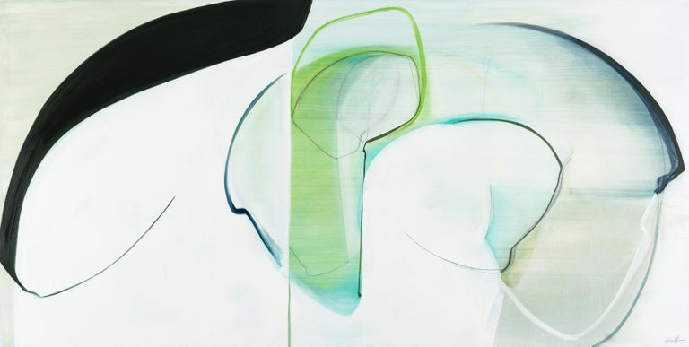 Rose Umerlik Abstract Painting - Protect,  Abstract painting, Oil and Graphite on Panel, Blue, black, Green