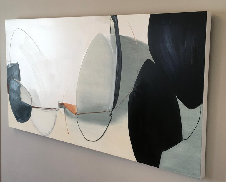 Undeterred, Large Abstract painting, Oil and Graphite on Panel, Black, off white - Gray Abstract Painting by Rose Umerlik
