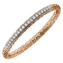Rose White Two-Tone Gold and Diamond Bangle Bracelet