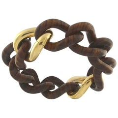 Rose Wood Groumette Bracelet 18 Karat Yellow Gold