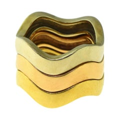 Rose, Yellow, and White Gold Interchangeable Triple Stack Wave Band Rings