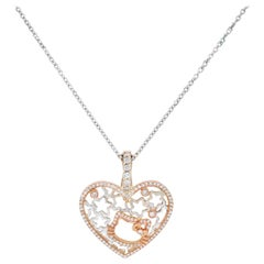 Rose Yellow White Gold and Diamond Heart Pendant Hello Kitty
