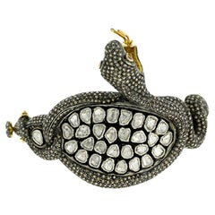 Rosecut and Pave Diamond Designer Snake Cuff Bangle in Silver and 14k Gold