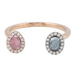 Rosecut Diamond 18 Karat Gold Open Ring
