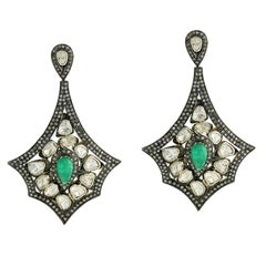 Rosecut Diamond Emerald Silver and Gold Earring