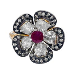 Rosecut Diamond Flower Ring with Ruby in Gold and Silver