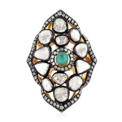 Rose-Cut Diamond Ring with Emeralds