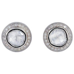 Rosecut Diamond Round Stud Earrings
