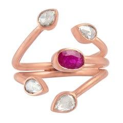 Rosecut Diamond Ruby 18 Karat Gold Open Ring