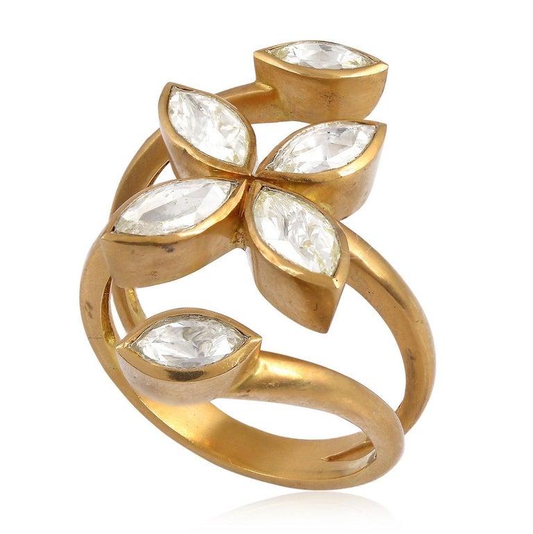 Modern Rosecut Diamond Veil Open Ring For Sale
