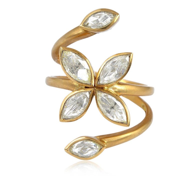 Rose Cut Rosecut Diamond Veil Open Ring For Sale