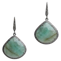 Rosecut Emerald and Diamond Drop Earrings
