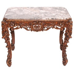 Rosel Rococo Style Carved Wood and Marble Table