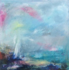Coast, Rosemary Houghton, Original Abstract Blue Seascape Painting, Affordable