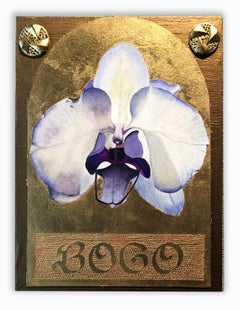 Contemporary mixed media gold leaf purple pop art text floral wall sculpture