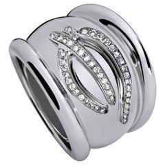 Rosenblat Ring in 18 Carat White Gold, 44 Cognac Colored Diamonds 0.29 Carat