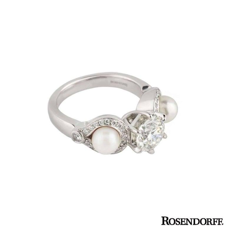 Round Cut Rosendorff Diamond and Pearl Ring 1.20 Carat IGI Certified For Sale