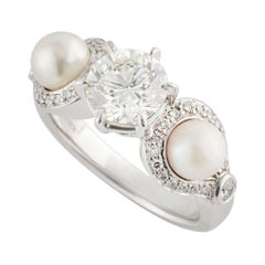 Rosendorff Diamond and Pearl Ring 1.20 Carat IGI Certified