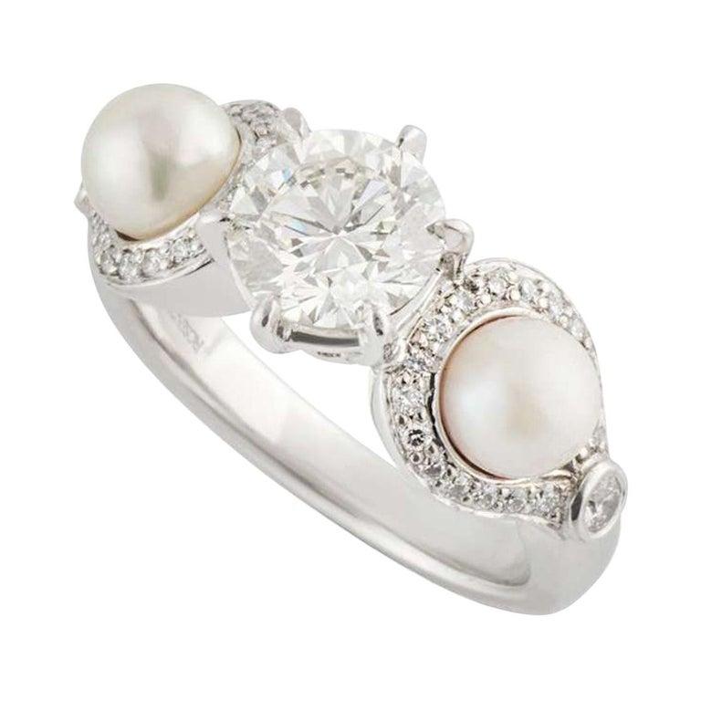 Rosendorff Diamond and Pearl Ring 1.20 Carat IGI Certified For Sale