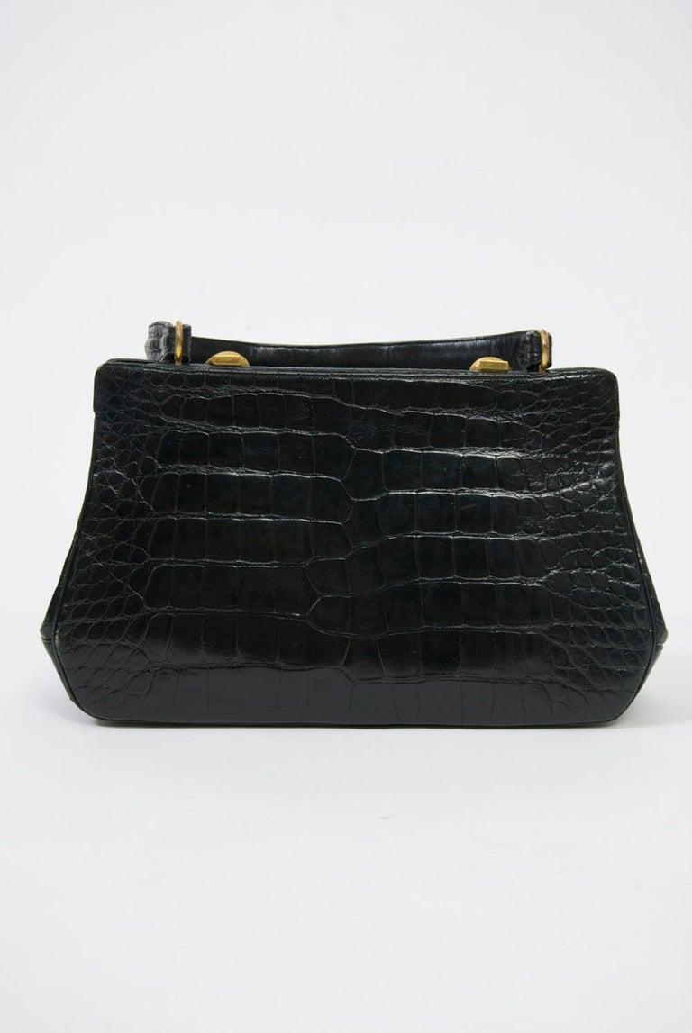 Women's Rosenfeld 1960s Black Faux Alligator Handbag For Sale