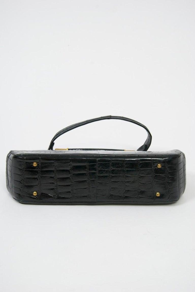 Rosenfeld 1960s Black Faux Alligator Handbag For Sale 1
